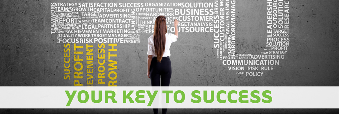 Woman stands at wall amidst word cloud elaborating on keys to success.