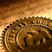 Golden circuit court seal. Shallow focus on the word court.